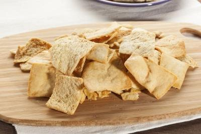 Pita chips made from whole wheat pita.