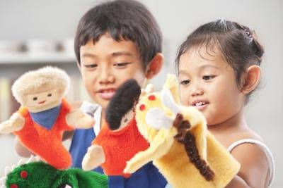 Role play using puppets.