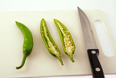 Sliced green chili
