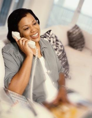 Woman on home phone
