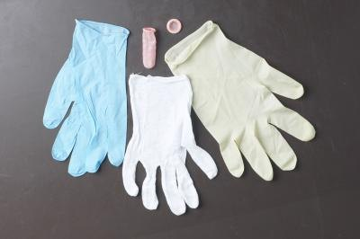 Latex gloves.