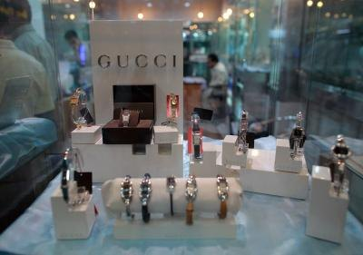 Gucci watches on display at store