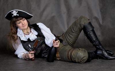 Pirate girl posing