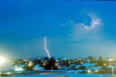 Lightning is attracted to metal and tall objects.