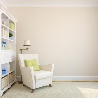 Cream colored wall paint with a splash of color.
