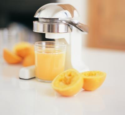 A glass of fresh squeezed orange juice.