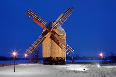 Post mill in winter.