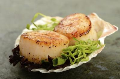 A pair of grilled scallops