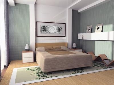 Multicolored modern green bedroom