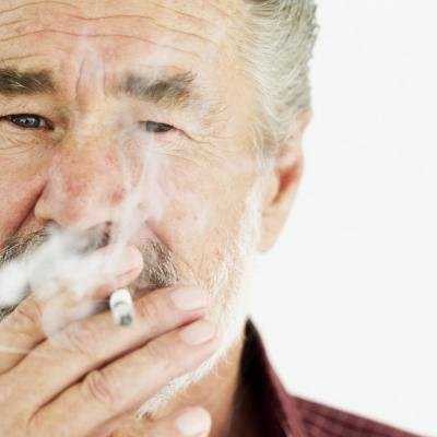 Elderly man smoking