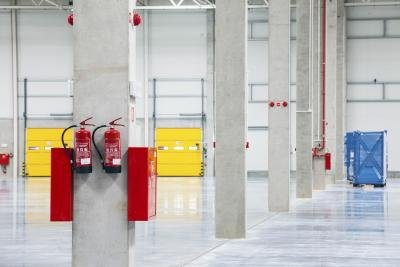 Fire extinguishers in warehouse.