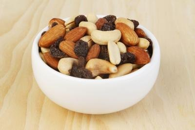 A bowl of trailmix.
