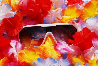 Sunglasses and lei