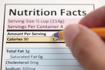 Pen on a nutrition label