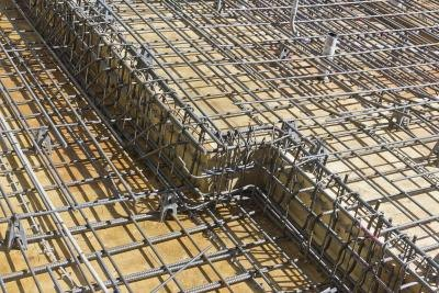 Rebar and wood make-up flooring at building site