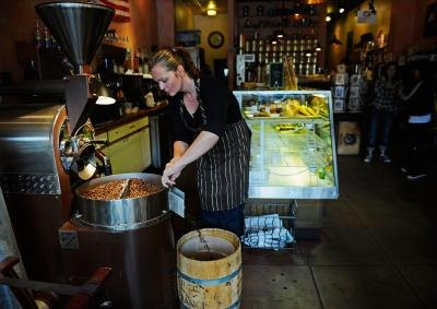 Beans being roasted in coffeehouse in Culver City, CA.