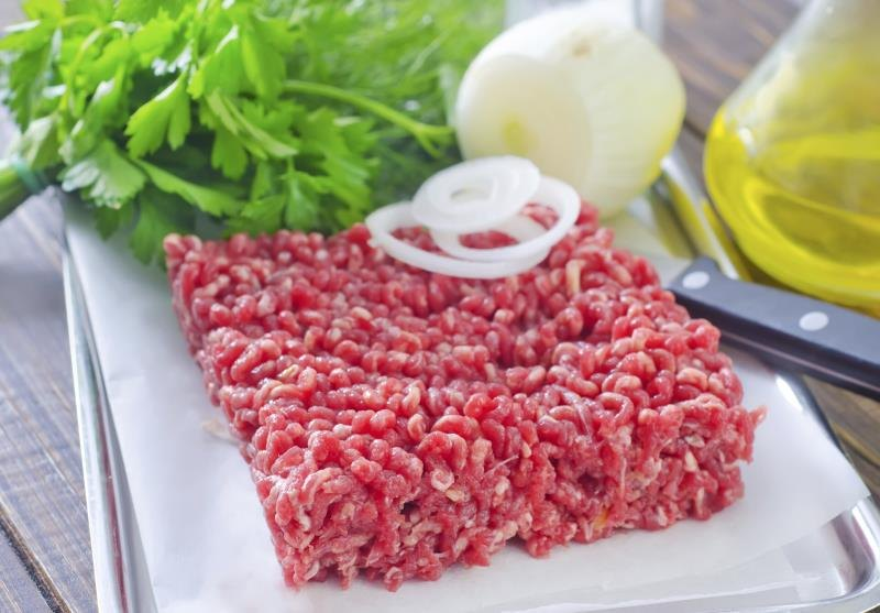 A serving of lean ground beef on a countertop.