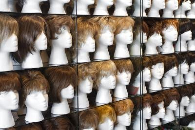 Fake hair in store.