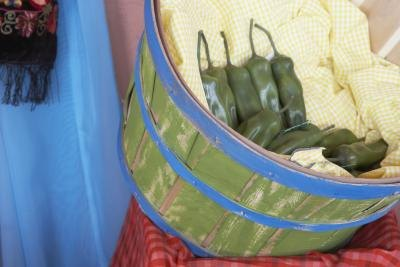 Green chilies in a basket