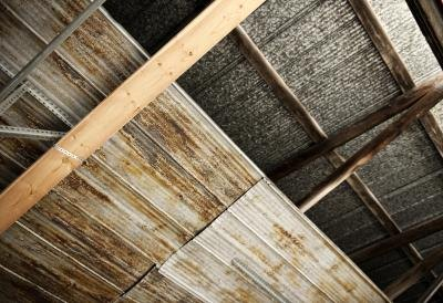 Rustic-looking tin ceiling.