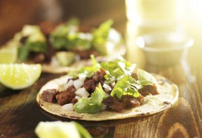 A close-up of steak tacos.