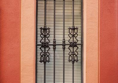 Wrought iron bars over a window in Spain.