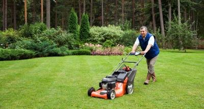 Wait to mow until your new grass blades are at least 3 and 1/2 inches tall.