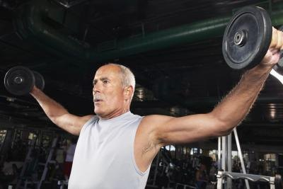 Mature man training in the gym