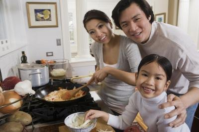 Chinese family cooking