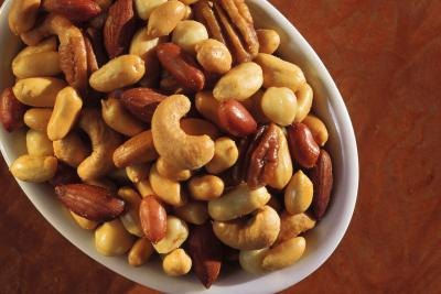 A bowl of salted mixed nuts.