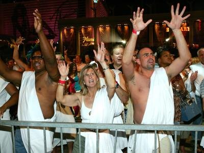 Crowd wearing togas at concert