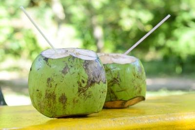 Drink straight from the coconut if possible.