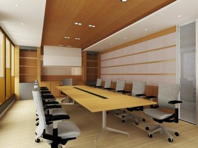 A clean conference room with sturdy yet modern furniture,