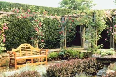Climbing roses on an arbor over a bench enhance the garden setting.