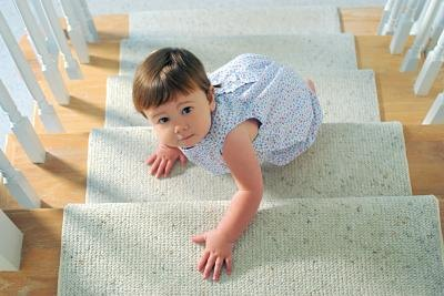 Installing carpet runners for stairs in one option.