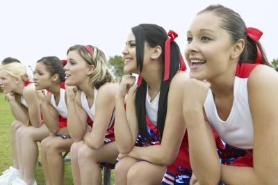 Girls on cheer team