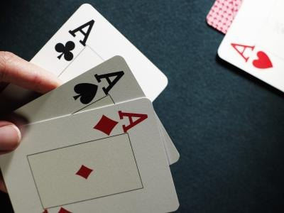 Close-up of a hand of playing cards.