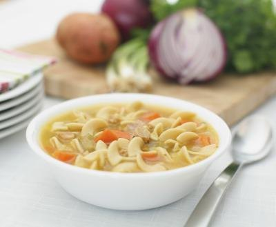 Offer the child a bowl of hot chicken broth or chicken soup.