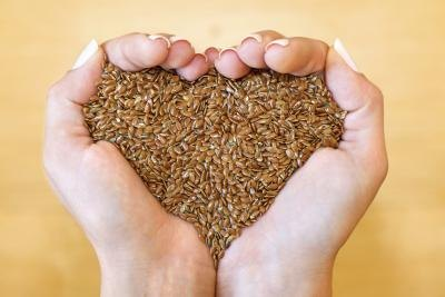 Hands holding flaxseeds.