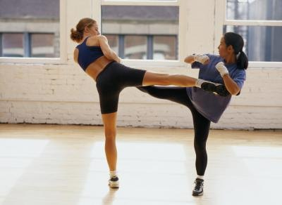 Sparring is often a part of training in kickboxing.