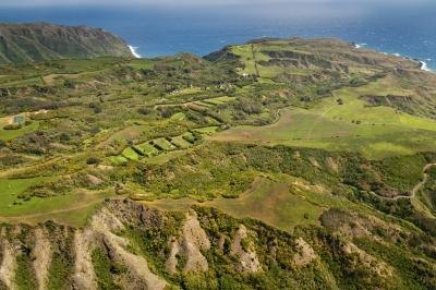 Aerial view of Molokai landscape.
