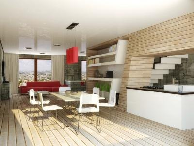 A modern living room and dining room with neutral shades and red accents.