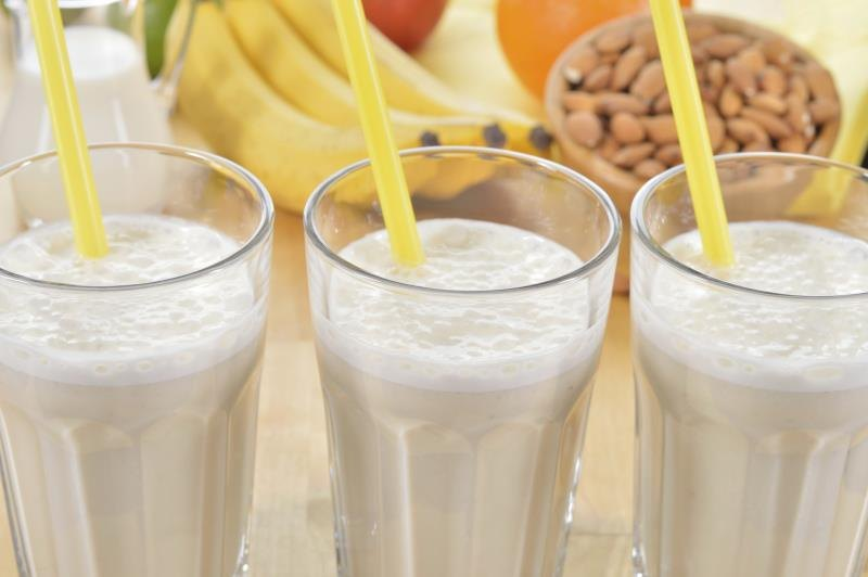 Close-up of protein smoothies
