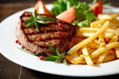 Grilled steak with french fries.
