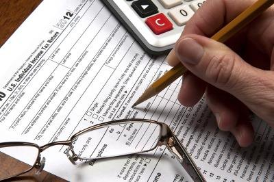 Filling out an income tax form