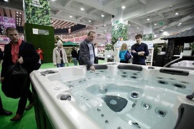 Latest jacuzzi on display at Ideal Home trade show in London, England