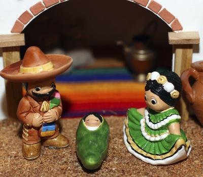 Mexican nativity with baby Jesus