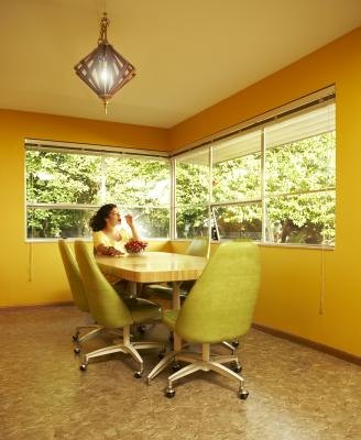 A lively color like yellow or lime green can help a small or dark space feel larger.