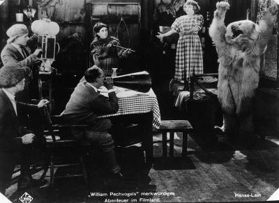 "A scene from the silent movie ""Adventures in Film Land"", circa 1925"