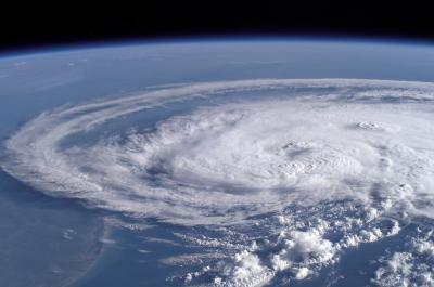 Typhoon forming over ocean